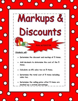 Markups and Discounts Worksheet