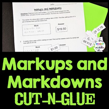 Markups And Markdowns Engaging Cut And Glue Worksheet 7 Rp 3 By