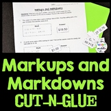 Markups and Markdowns Engaging Cut-and-Glue Worksheet: 7.RP.3