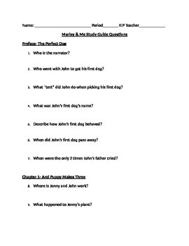 Marley and Me Study Guide