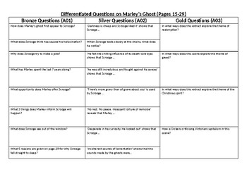 Marley's Ghost A Christmas Carol differentiated questions Charles Dickens