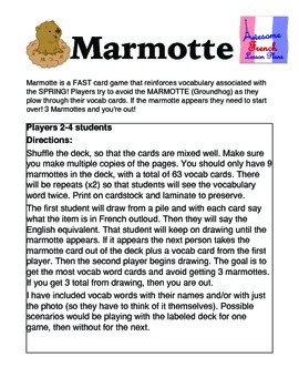 Marmotte French Spring Vocabulary Game