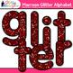Maroon Glitter Alphabet Clip Art {Great for Classroom Deco