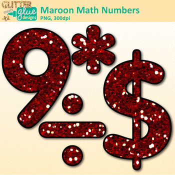 Maroon Glitter Math Numbers Clip Art | Great for Classroom Decor & Resources
