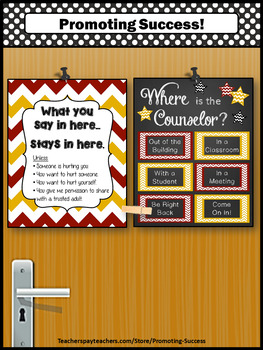 Maroon & Gold School Counselor Confidentiality Sign Office Door Sign 8x10 16x20