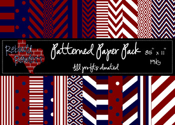 Maroon, Navy and White Paper Pack - PROFITS DONATED!