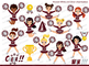 Maroon, Silver and White Cheerleader Digital Clipart Set
