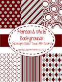 Maroon & White Digital Papers (Mississippi State/ Texas A&M Team Colors)