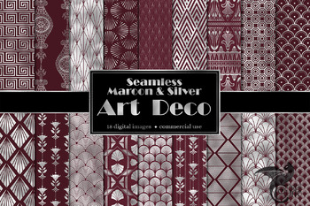 Maroon and Silver Art Deco Digital Paper