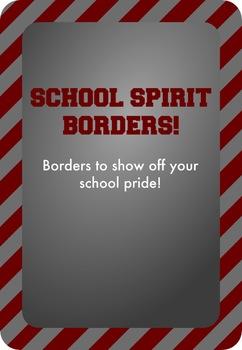 Maroon and Silver - School Spirit Borders 9 Pack