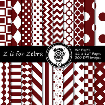 Maroon / white dual tone Digital Paper Pack 1 - CU ok { ZisforZebra}