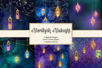 Marrakesh Midnight Backgrounds, Moroccan gold lamps and lantern digital paper