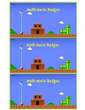 Mario Math Badge Card