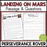 Mars 2020 Mission- Perseverance Rover Reading Passage & Questions