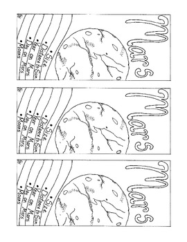 Mars Bookmark Coloring Page Solar System Printable PDF