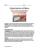 Mars - Colonization Lesson Travel to Mars? Colony on Mars? The Martian