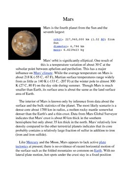 Mars Common Core Info Sheet and Activity