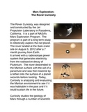Mars Exploration: The Rover Curiosity Common Core Reading and Writing Activities