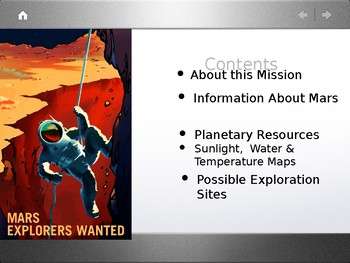 Mars Explorers: Possible Habitation Sites PPT