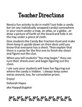 Candy Bar Fraction Hunt - A Fun Fractions Activity