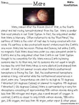 Mars Paired Passages with Text Based Evidence Questions