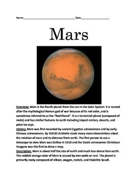 Mars - Planet review article facts lesson information ques