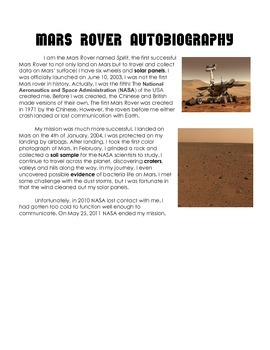 Mars Rover Autobiography