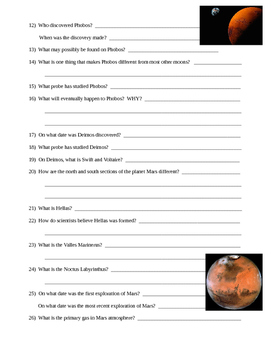 Mars and Moons - Space and Planet Webquest