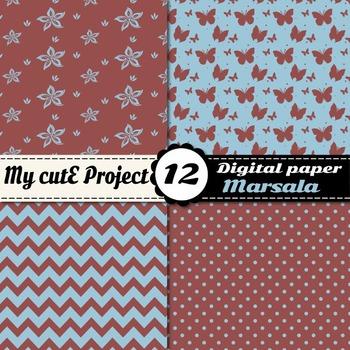 Marsala and Aquamarine Digital Paper -