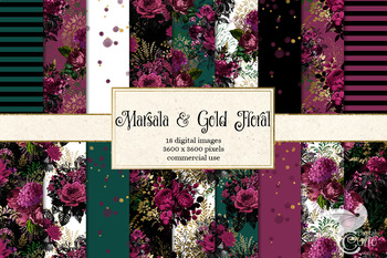Marsala and Gold Floral Digital papers, patterns, backgrounds