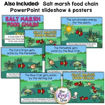Marsh Food Chains Flip Book PLUS Food Chain PowerPoint Slideshow Plus Posters