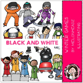 Winter games clip art - BLACK AND WHITE- by Melonheadz