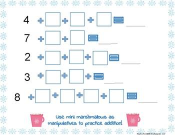 Addition Math Mat with Marshmallows