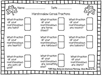Marshmallow Cereal Math~Graphs and Fractions 3rd Grade TEKS Aligned
