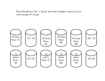 10 more 10 less Marshmallow Dunk