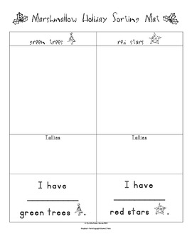Marshmallow Holiday Sorting Mat and Graph for PreK and K