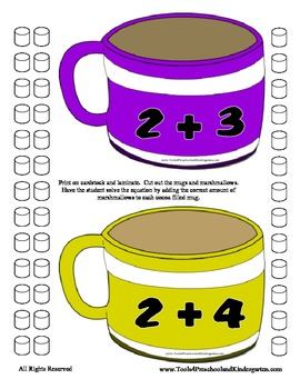 Marshmallow & Hot Chocolate Addition - Sums to 10 - Home School Adding