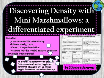 Density: A Differentiated Marshmallow Experiment with 3 Learning Levels!
