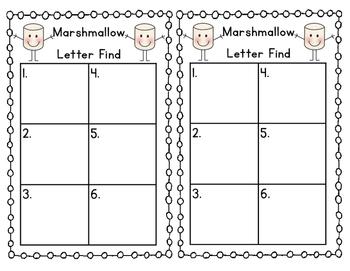 Marshmallow Letter Find Winter Sensory Bin Activity
