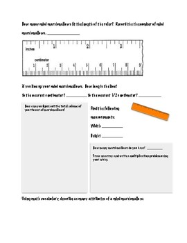 Marshmallow Math Graphic Organizer