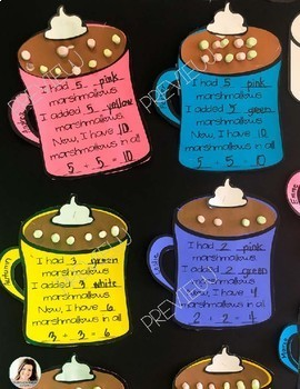 Marshmallow Math Hot Cocoa Addition Winter Bulletin Board Set K