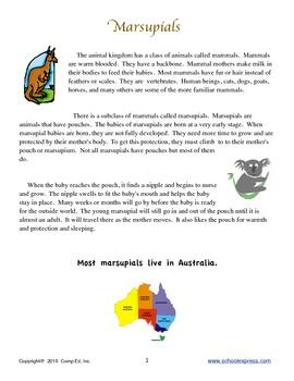 Marsupials Thematic Unit