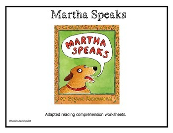 Martha Speaks Shared Reading Adapted Questions