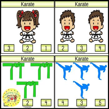 Karate Count and Clip Sports Task Cards