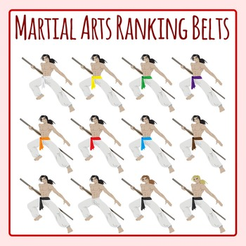 Martial Arts Ranking Belts / Video Game Fighter Clip Art Set for Commercial Use