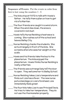 Martians Don't Take Temperatures (Bailey School Kids) Novel Study  (22 pages)