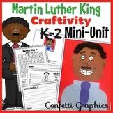 Martin L. King MLK Craftivity Craft Activity Black History Mini Unit K 1 2