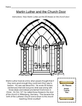 Martin Luther 95 Theses Worksheet