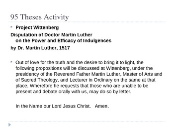 Martin Luther 95 Thesis Lesson Plan, Worksheet, Handout.   History 101