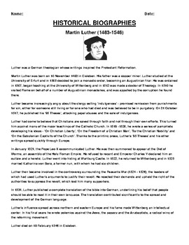 Martin Luther Biography Article and (3) Assignments
